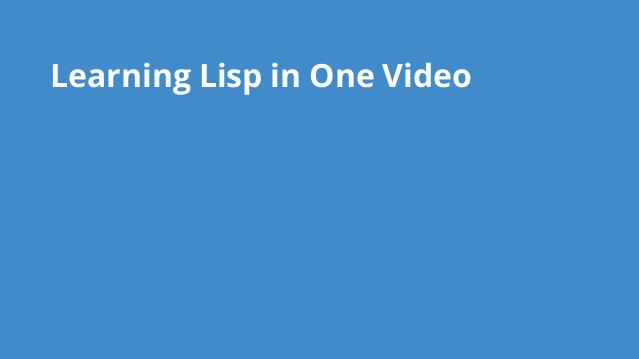 learning-lisp-in-one
