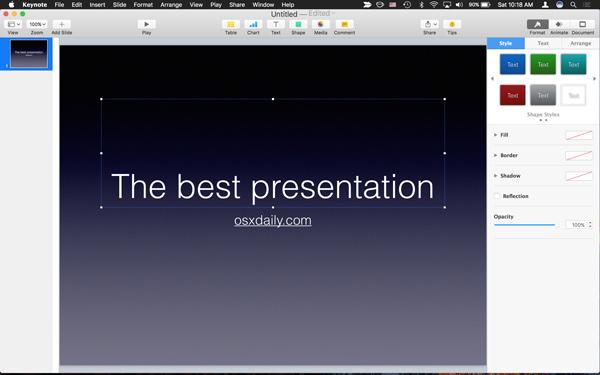ویژگی های Keynote
