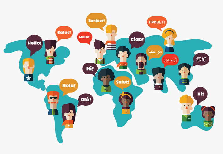 Speech bubbles in different languages